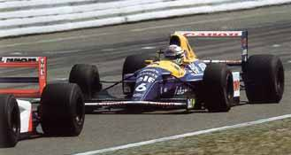 With Mansell running in the lead, Patrese was doing his all to make it a Williams-Renault 1-2 finish but just couldn't pressure Senna into a mistake