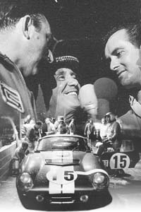 Jo Schlesser (left) and Bob Bondurant (right) being interviewed after the race.