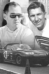 Dick Thompson (left) and Dick Guldstrand (right) drove the Penske Roadster at Sebring in 1966.