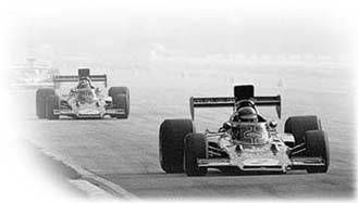 Peterson, in the lead, and Fittipaldi pull away from the field in the 1973 Italian Grand Prix at Monza.