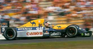At speed on the straights, the vibrations from his left-front tire caused such trouble seeing that Mansell had to brake early just to see the corner ahead!