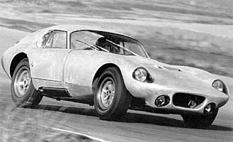 Seen in bare aluminum, this is the first press release photograph of the Daytona Coupe.  Ken Miles accelerates out of Turn 8 at Riverside during the only short tests prior to Daytona!