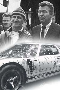 Top: Chief text driver, Ken Miles, and Shelby.  Below: Mk II in the wind tunnel, early 1966.