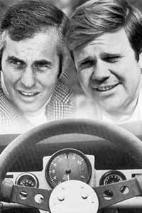 Team manager, Roger Penske (left) and the unbeatable driver, Mark Donohue.