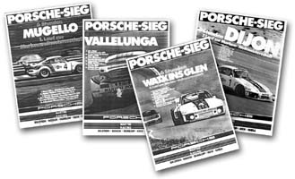 Factory issued posters commemorate Porsche's victories during the 1976 World Championship of Makes contested by Group 5 race cars.