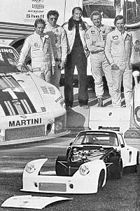 The 1976 Championship winning team (above).  Below, the first 935 Turbo prototype of 1976.